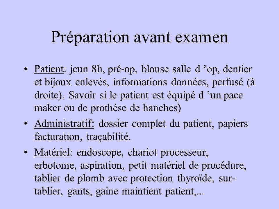 Préparation avant examen Patient: jeun 8h, pré-op, blouse salle d 'op, dentier et bijoux enlevés, informations données, perfusé (à droite). Savoir si