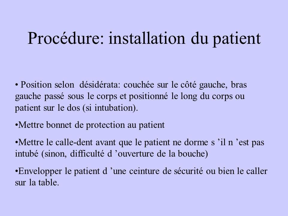 Procédure: installation du patient Position selon désidérata: couchée sur le côté gauche, bras gauche passé sous le corps et positionné le long du corps ou patient sur le dos (si intubation).