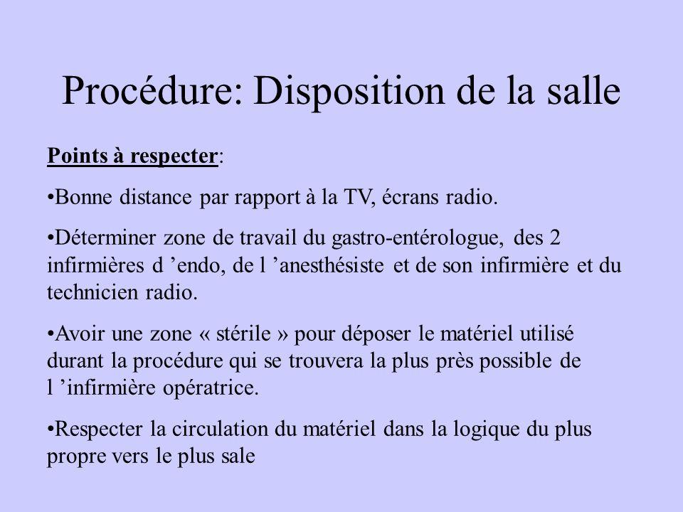Procédure: Disposition de la salle Points à respecter: Bonne distance par rapport à la TV, écrans radio. Déterminer zone de travail du gastro-entérolo