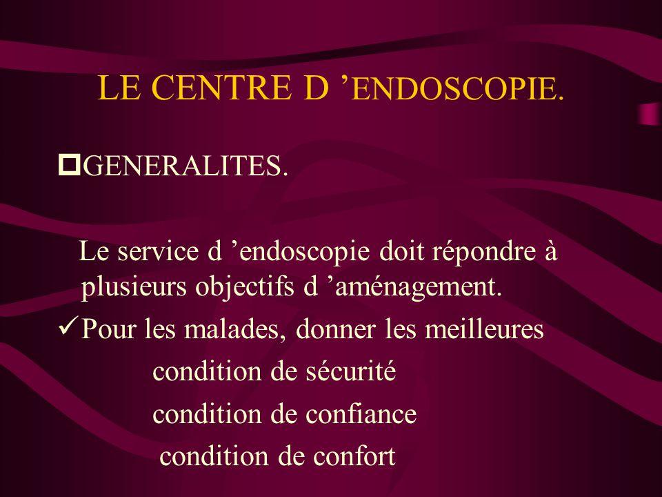 LE CENTRE D ' ENDOSCOPIE. pGENERALITES. Le service d 'endoscopie doit répondre à plusieurs objectifs d 'aménagement. üPour les malades, donner les mei