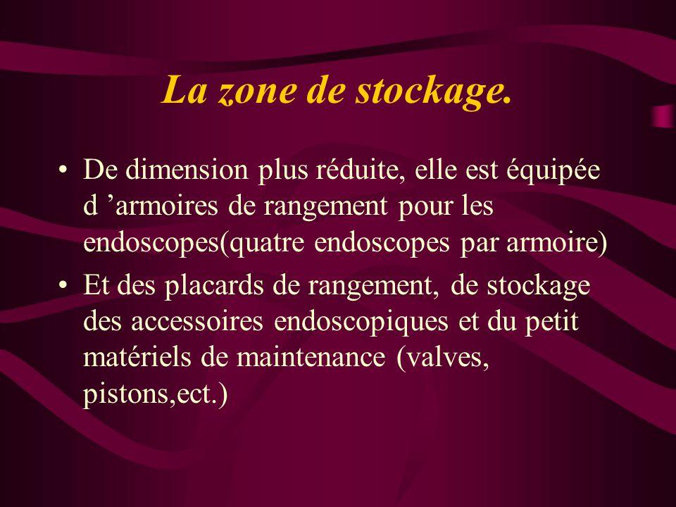 La zone de stockage. De dimension plus réduite, elle est équipée d 'armoires de rangement pour les endoscopes(quatre endoscopes par armoire) Et des pl