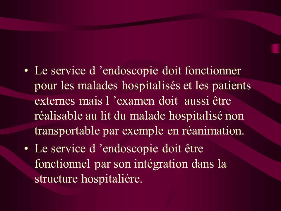 Le service d 'endoscopie doit fonctionner pour les malades hospitalisés et les patients externes mais l 'examen doit aussi être réalisable au lit du m