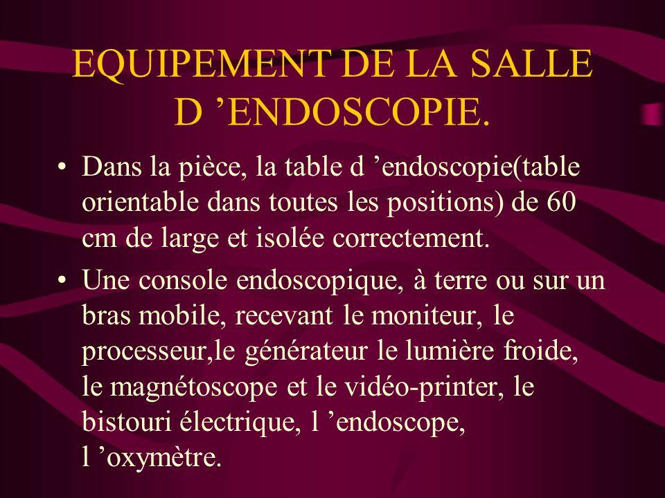 EQUIPEMENT DE LA SALLE D 'ENDOSCOPIE. Dans la pièce, la table d 'endoscopie(table orientable dans toutes les positions) de 60 cm de large et isolée co