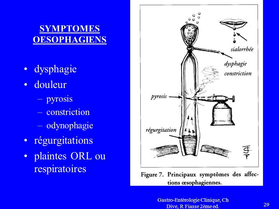 Gastro-Entérologie Clinique, Ch Dive, R Fiasse 2ème ed. 29 SYMPTOMES OESOPHAGIENS dysphagie douleur –pyrosis –constriction –odynophagie régurgitations