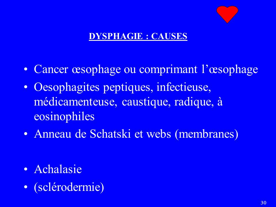 30 DYSPHAGIE : CAUSES Cancer œsophage ou comprimant l'œsophage Oesophagites peptiques, infectieuse, médicamenteuse, caustique, radique, à eosinophiles Anneau de Schatski et webs (membranes) Achalasie (sclérodermie)
