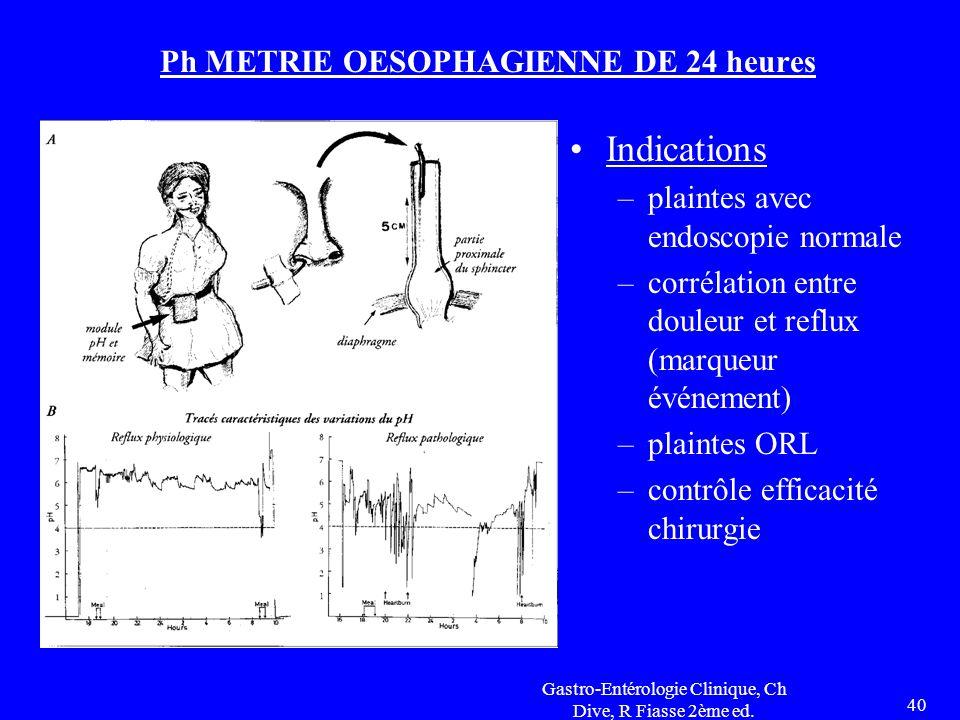 Gastro-Entérologie Clinique, Ch Dive, R Fiasse 2ème ed. 40 Ph METRIE OESOPHAGIENNE DE 24 heures Indications –plaintes avec endoscopie normale –corréla