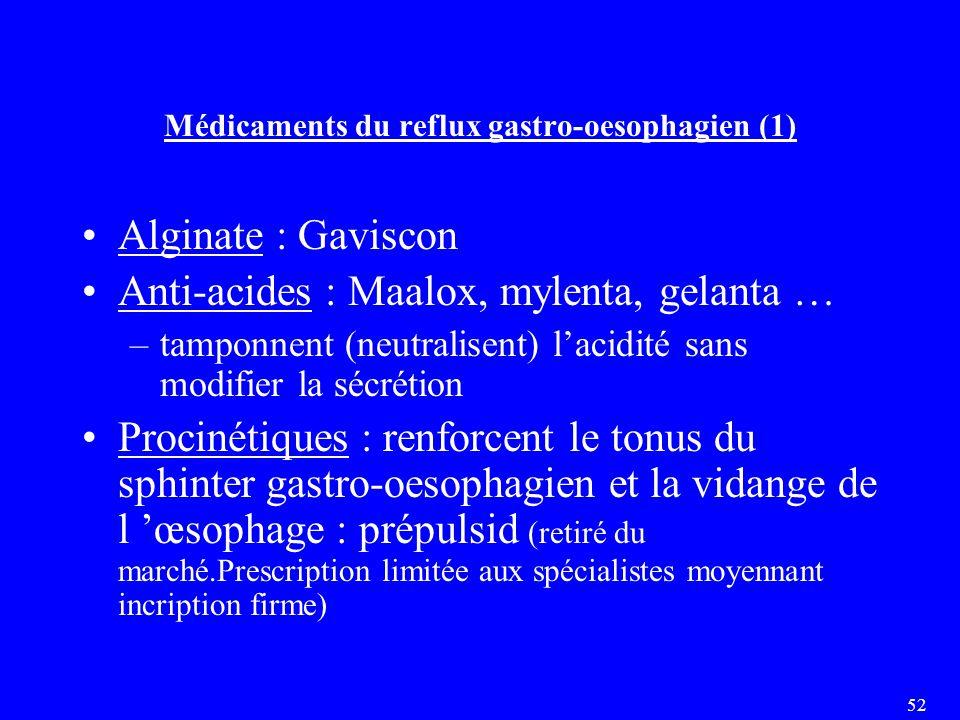 52 Médicaments du reflux gastro-oesophagien (1) Alginate : Gaviscon Anti-acides : Maalox, mylenta, gelanta … –tamponnent (neutralisent) l'acidité sans modifier la sécrétion Procinétiques : renforcent le tonus du sphinter gastro-oesophagien et la vidange de l 'œsophage : prépulsid (retiré du marché.Prescription limitée aux spécialistes moyennant incription firme)