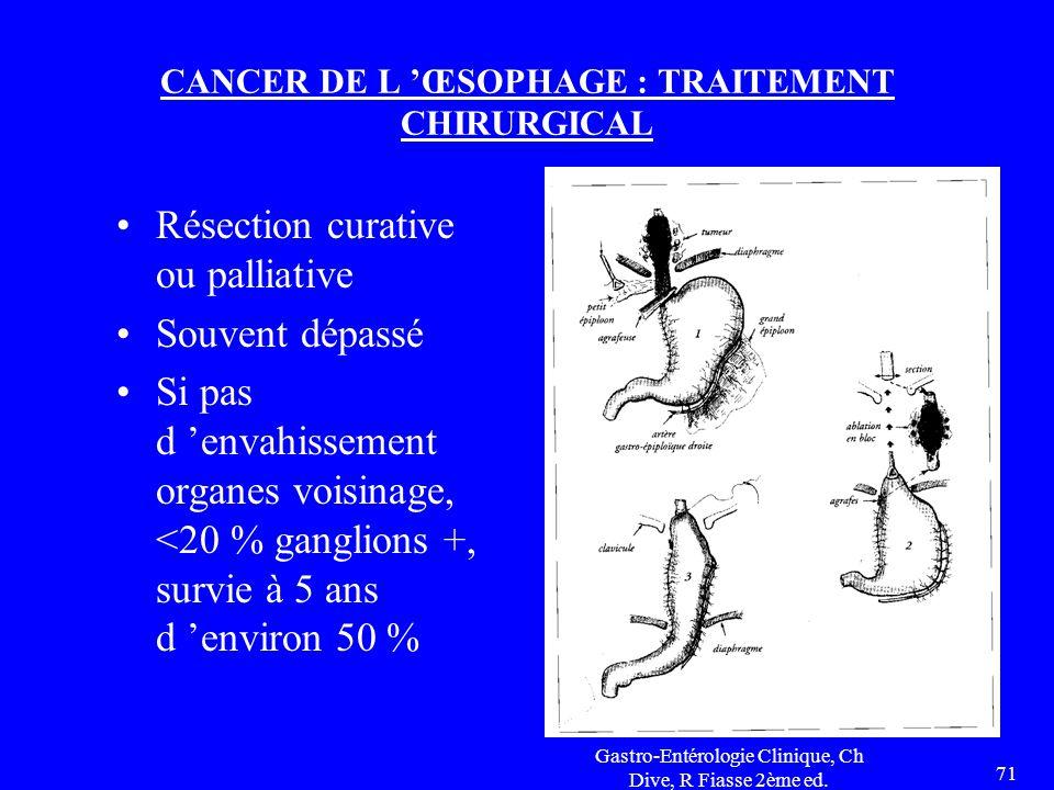 Gastro-Entérologie Clinique, Ch Dive, R Fiasse 2ème ed. 71 CANCER DE L 'ŒSOPHAGE : TRAITEMENT CHIRURGICAL Résection curative ou palliative Souvent dép