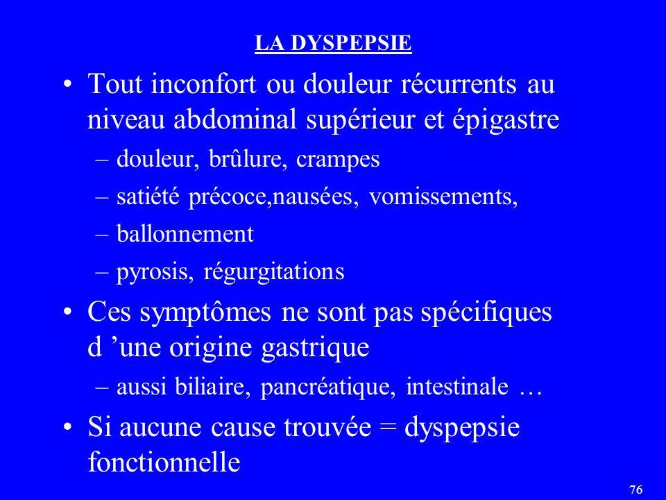 76 LA DYSPEPSIE Tout inconfort ou douleur récurrents au niveau abdominal supérieur et épigastre –douleur, brûlure, crampes –satiété précoce,nausées, vomissements, –ballonnement –pyrosis, régurgitations Ces symptômes ne sont pas spécifiques d 'une origine gastrique –aussi biliaire, pancréatique, intestinale … Si aucune cause trouvée = dyspepsie fonctionnelle