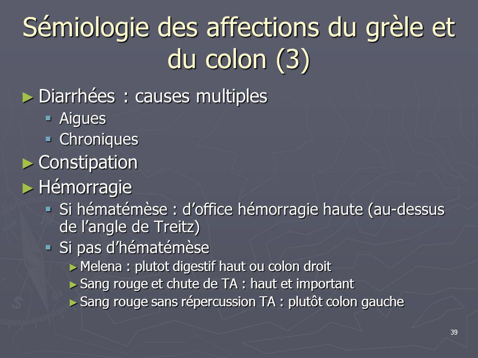 39 Sémiologie des affections du grèle et du colon (3) ► Diarrhées : causes multiples  Aigues  Chroniques ► Constipation ► Hémorragie  Si hématémèse