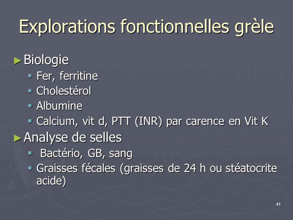 41 Explorations fonctionnelles grèle ► Biologie  Fer, ferritine  Cholestérol  Albumine  Calcium, vit d, PTT (INR) par carence en Vit K ► Analyse d