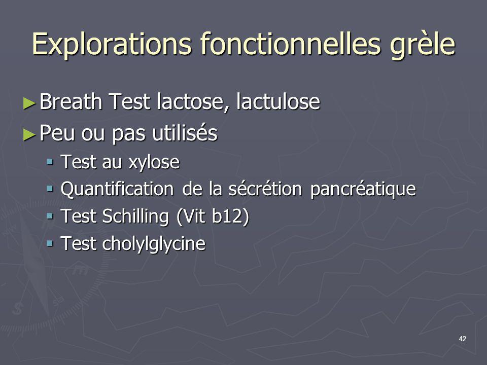 42 Explorations fonctionnelles grèle ► Breath Test lactose, lactulose ► Peu ou pas utilisés  Test au xylose  Quantification de la sécrétion pancréat