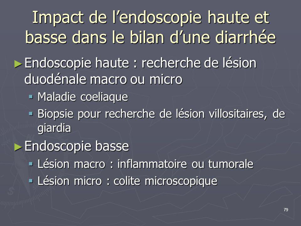 79 Impact de l'endoscopie haute et basse dans le bilan d'une diarrhée ► Endoscopie haute : recherche de lésion duodénale macro ou micro  Maladie coel