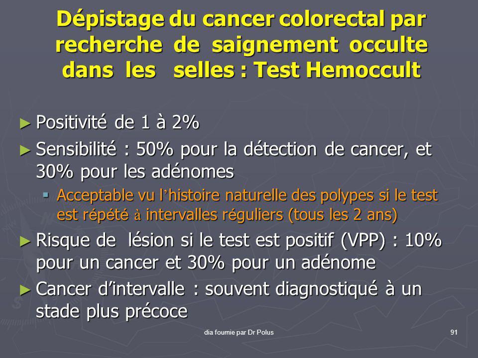 dia fournie par Dr Polus91 Dépistage du cancer colorectal par recherche de saignement occulte dans les selles : Test Hemoccult ► Positivité de 1 à 2%