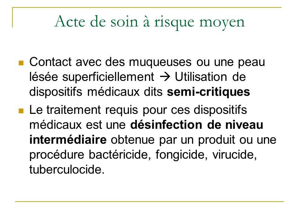 Acte de soin à risque moyen Contact avec des muqueuses ou une peau lésée superficiellement  Utilisation de dispositifs médicaux dits semi-critiques L