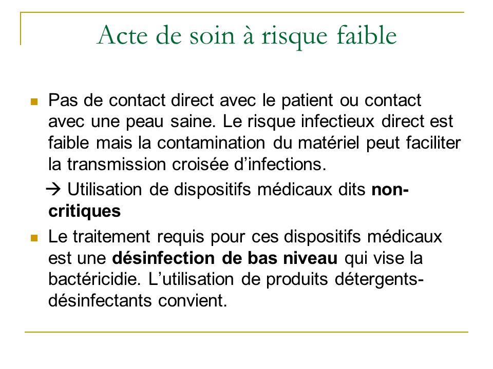 Acte de soin à risque faible Pas de contact direct avec le patient ou contact avec une peau saine. Le risque infectieux direct est faible mais la cont