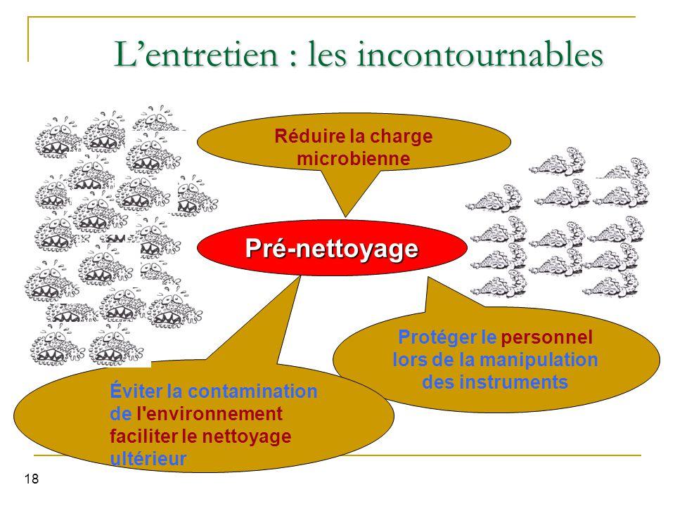 18 L'entretien : les incontournables Protéger le personnel lors de la manipulation des instruments Éviter la contamination de l'environnement facilite