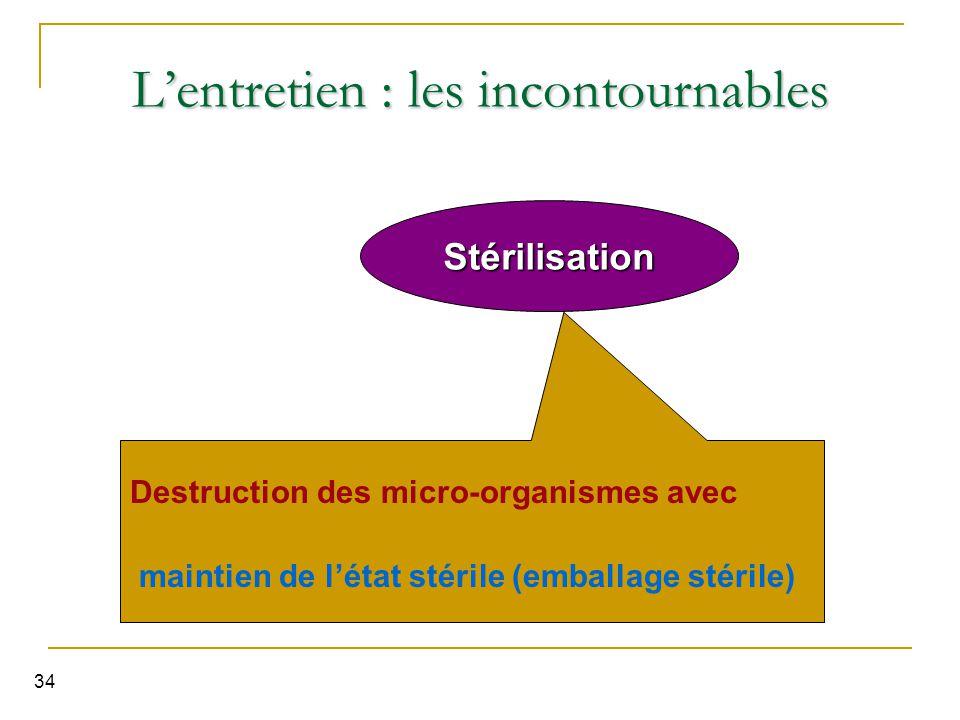 34 Stérilisation L'entretien : les incontournables Destruction des micro-organismes avec maintien de l'état stérile (emballage stérile)