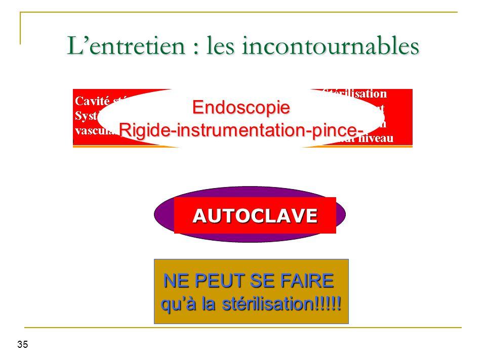 35 Stérilisation L'entretien : les incontournables EndoscopieRigide-instrumentation-pince- AUTOCLAVE NE PEUT SE FAIRE qu'à la stérilisation!!!!!