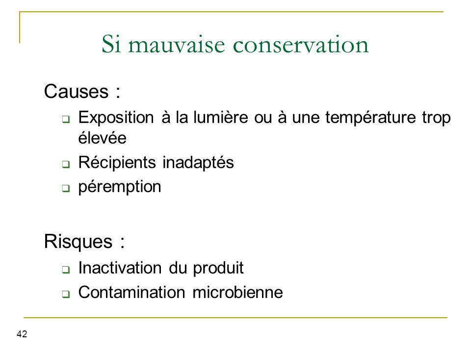 42 Si mauvaise conservation Causes :  Exposition à la lumière ou à une température trop élevée  Récipients inadaptés  péremption Risques :  Inactivation du produit  Contamination microbienne