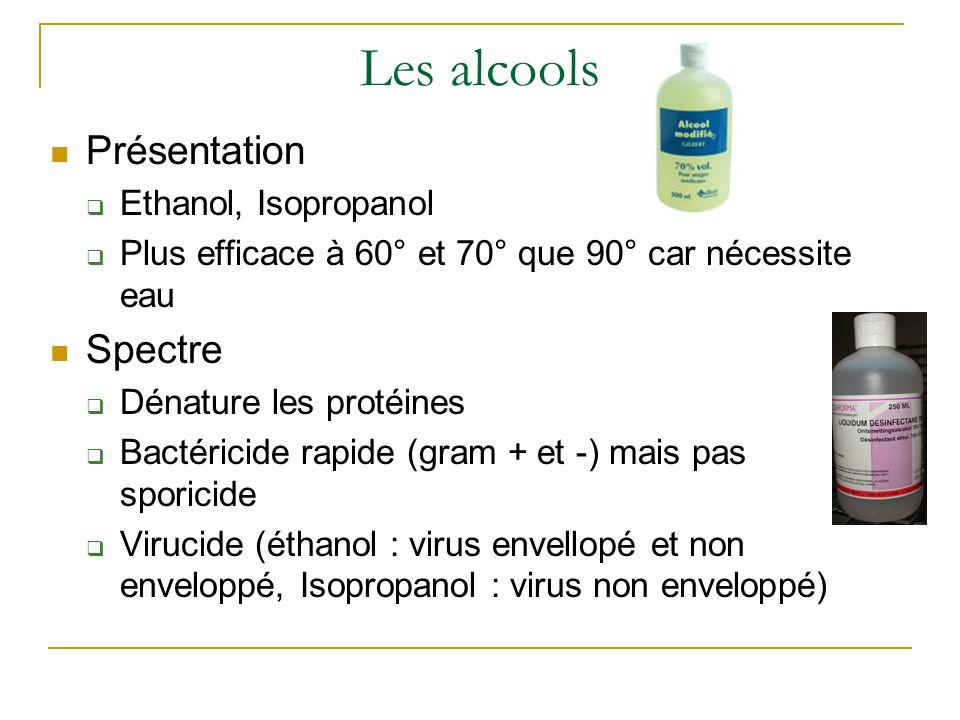 Les alcools Présentation  Ethanol, Isopropanol  Plus efficace à 60° et 70° que 90° car nécessite eau Spectre  Dénature les protéines  Bactéricide rapide (gram + et -) mais pas sporicide  Virucide (éthanol : virus envellopé et non enveloppé, Isopropanol : virus non enveloppé)