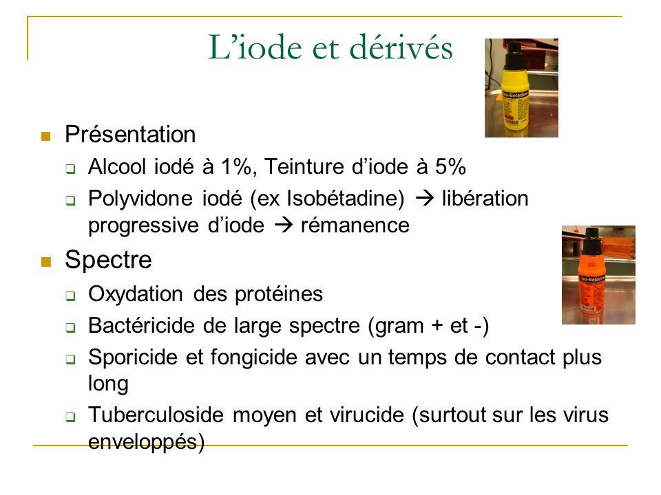L'iode et dérivés Présentation  Alcool iodé à 1%, Teinture d'iode à 5%  Polyvidone iodé (ex Isobétadine)  libération progressive d'iode  rémanence Spectre  Oxydation des protéines  Bactéricide de large spectre (gram + et -)  Sporicide et fongicide avec un temps de contact plus long  Tuberculoside moyen et virucide (surtout sur les virus enveloppés)