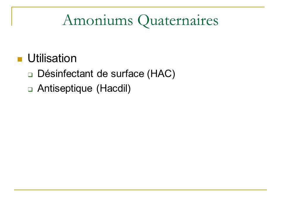 Amoniums Quaternaires Utilisation  Désinfectant de surface (HAC)  Antiseptique (Hacdil)