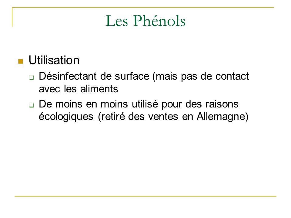 Les Phénols Utilisation  Désinfectant de surface (mais pas de contact avec les aliments  De moins en moins utilisé pour des raisons écologiques (ret