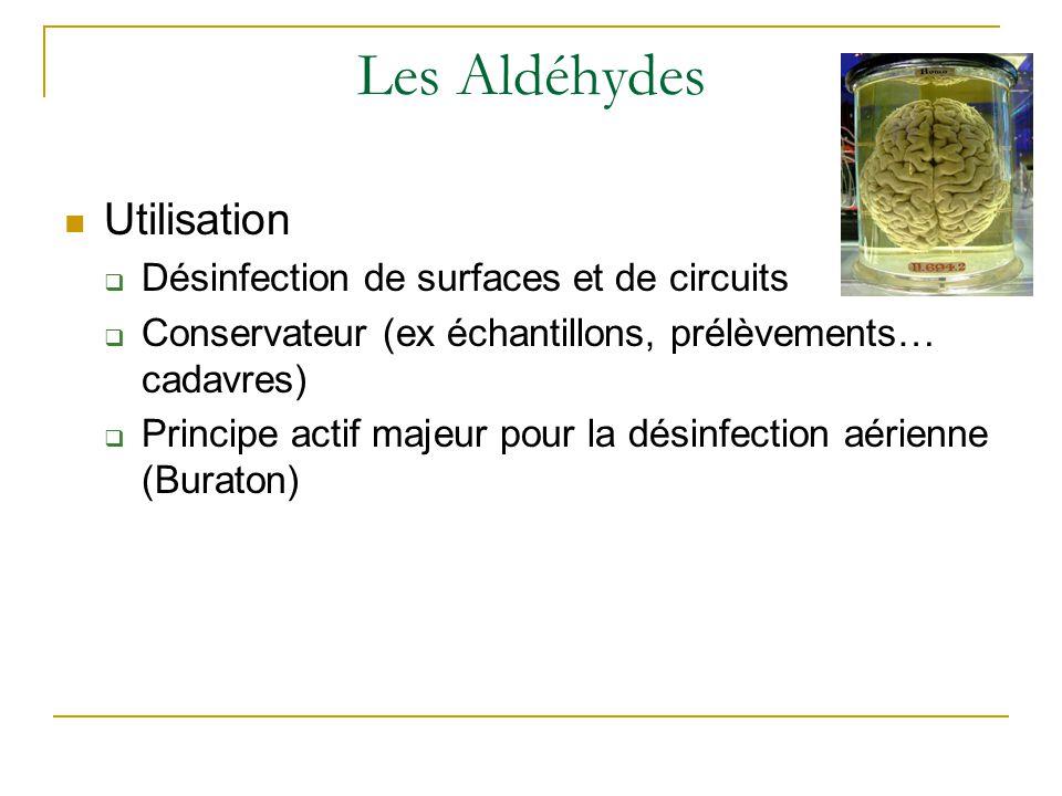 Les Aldéhydes Utilisation  Désinfection de surfaces et de circuits  Conservateur (ex échantillons, prélèvements… cadavres)  Principe actif majeur pour la désinfection aérienne (Buraton)