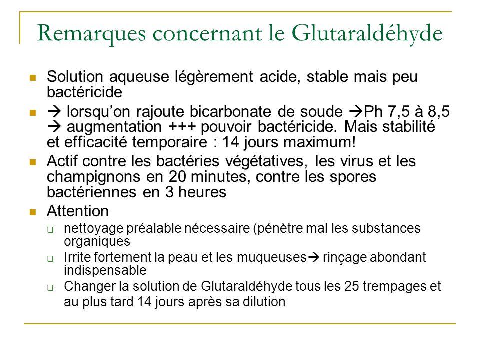 Remarques concernant le Glutaraldéhyde Solution aqueuse légèrement acide, stable mais peu bactéricide  lorsqu'on rajoute bicarbonate de soude  Ph 7,5 à 8,5  augmentation +++ pouvoir bactéricide.