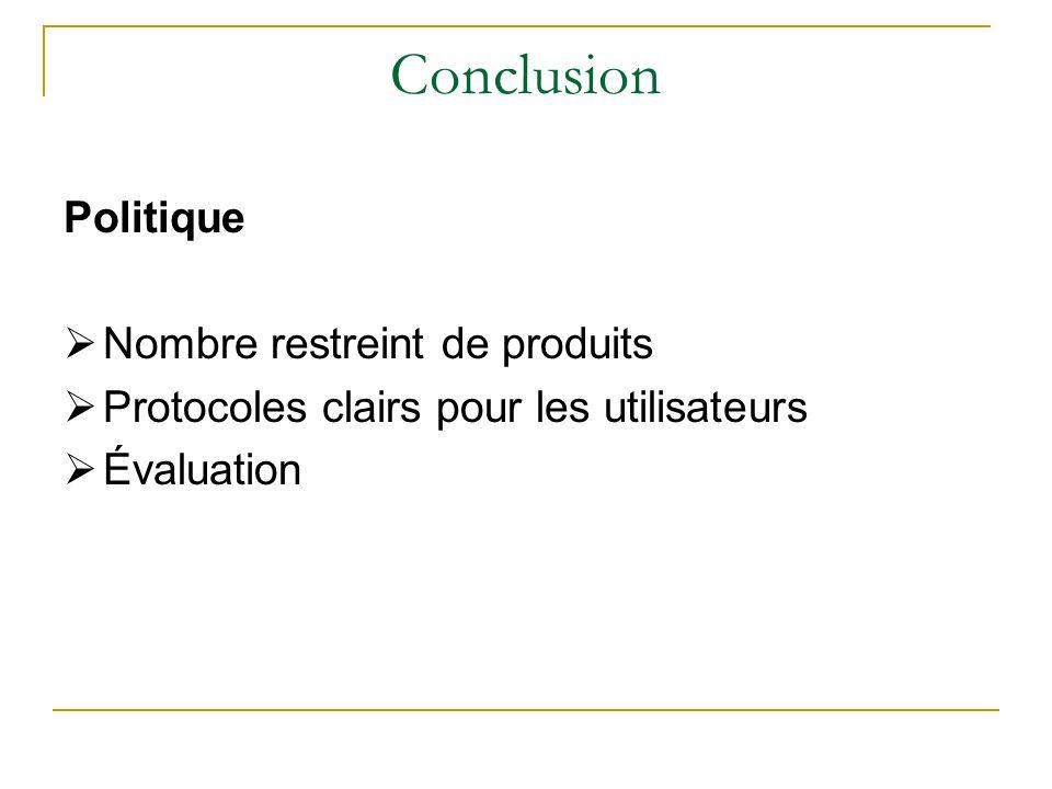 Conclusion Politique  Nombre restreint de produits  Protocoles clairs pour les utilisateurs  Évaluation