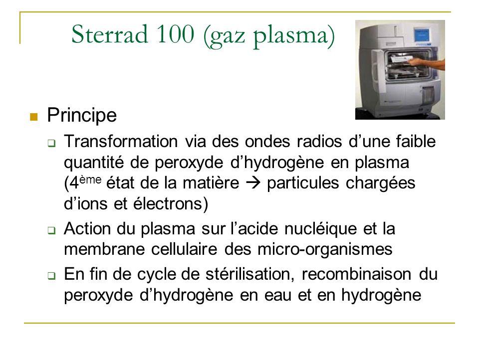 Sterrad 100 (gaz plasma) Principe  Transformation via des ondes radios d'une faible quantité de peroxyde d'hydrogène en plasma (4 ème état de la matière  particules chargées d'ions et électrons)  Action du plasma sur l'acide nucléique et la membrane cellulaire des micro-organismes  En fin de cycle de stérilisation, recombinaison du peroxyde d'hydrogène en eau et en hydrogène