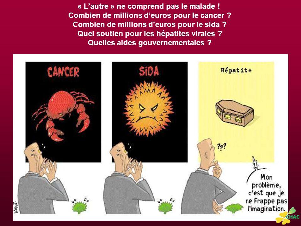 « L'autre » ne comprend pas le malade .Combien de millions d'euros pour le cancer .