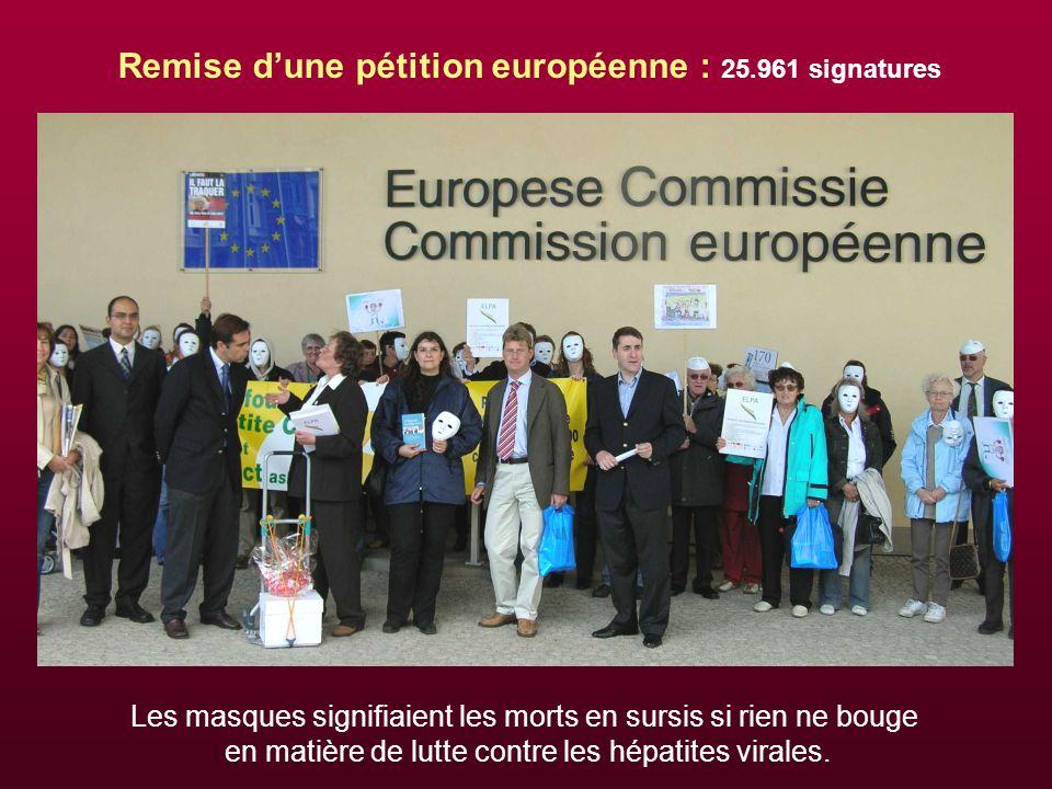 Remise d'une pétition européenne : 25.961 signatures Les masques signifiaient les morts en sursis si rien ne bouge en matière de lutte contre les hépatites virales.
