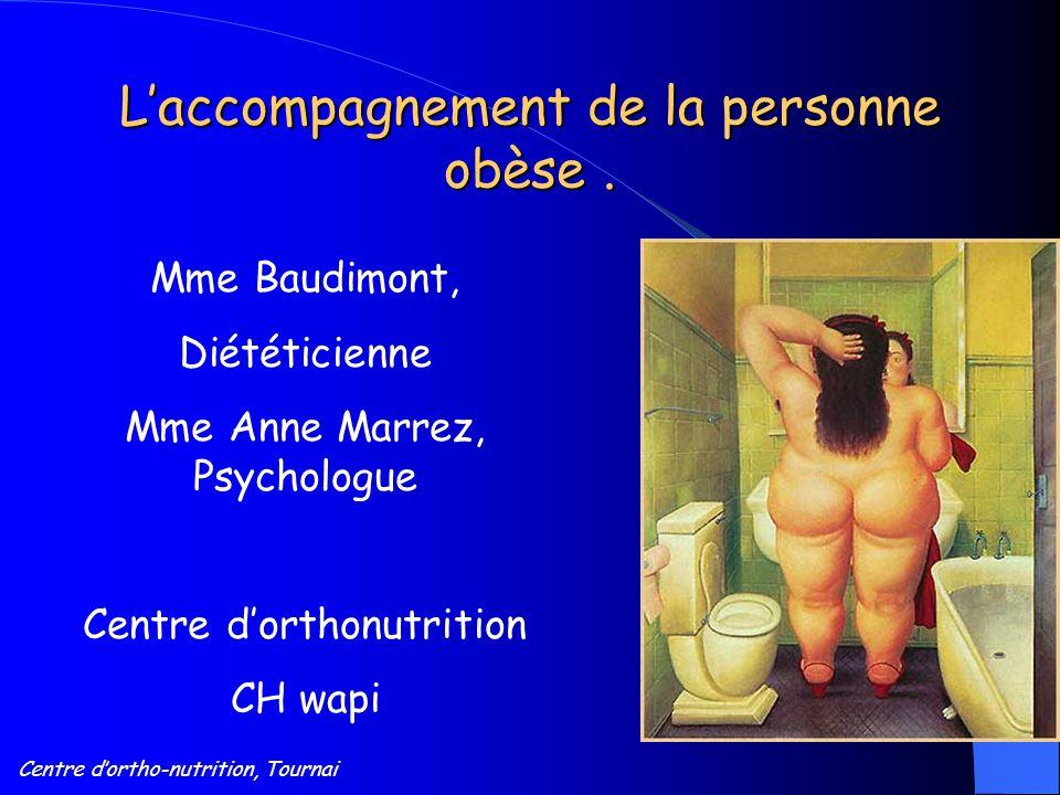 Centre d'ortho-nutrition, Tournai L'accompagnement de la personne obèse. Mme Baudimont, Diététicienne Mme Anne Marrez, Psychologue Centre d'orthonutri