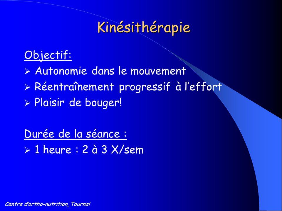 Centre d'ortho-nutrition, Tournai Kinésithérapie Objectif:  Autonomie dans le mouvement  Réentraînement progressif à l'effort  Plaisir de bouger! D