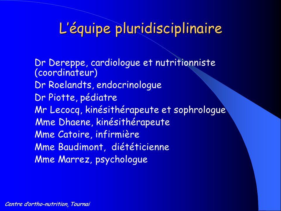 Centre d'ortho-nutrition, Tournai L'équipe pluridisciplinaire Dr Dereppe, cardiologue et nutritionniste (coordinateur) Dr Roelandts, endocrinologue Dr