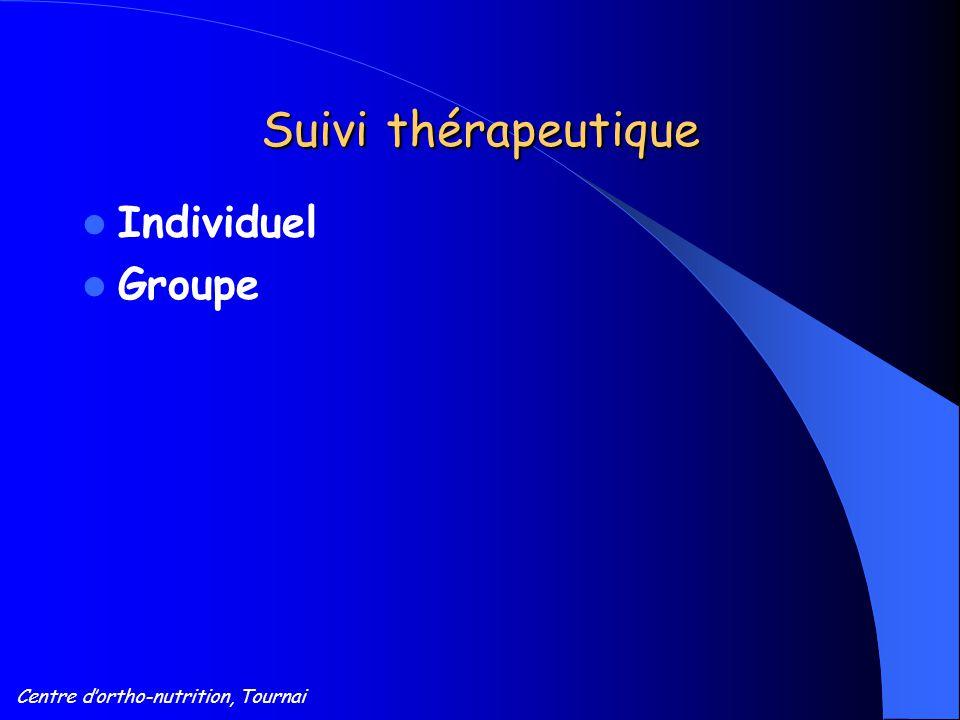 Centre d'ortho-nutrition, Tournai Suivi thérapeutique Individuel Groupe