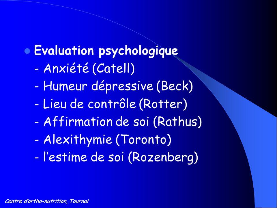 Centre d'ortho-nutrition, Tournai Evaluation psychologique - Anxiété (Catell) - Humeur dépressive (Beck) - Lieu de contrôle (Rotter) - Affirmation de