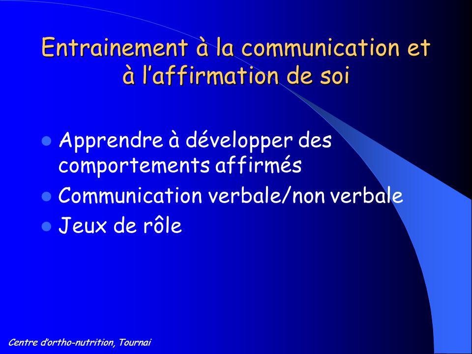 Centre d'ortho-nutrition, Tournai Entrainement à la communication et à l'affirmation de soi Apprendre à développer des comportements affirmés Communic