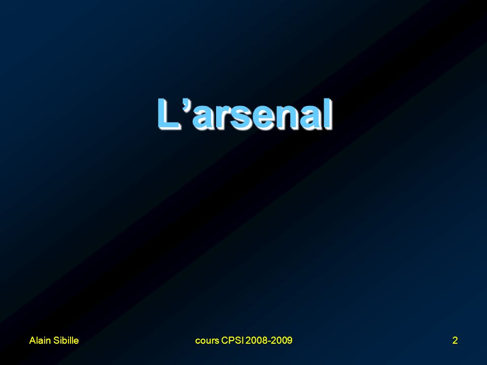 Alain Sibillecours CPSI 2008-20092 L'arsenalL'arsenal