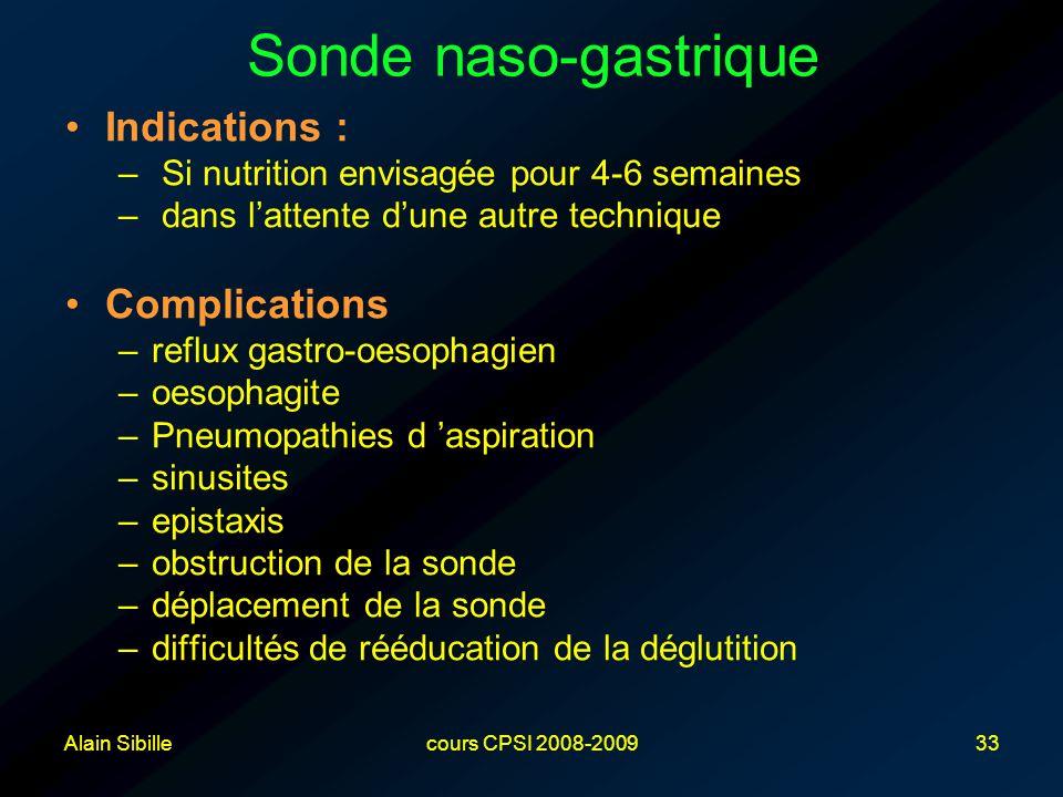 Alain Sibillecours CPSI 2008-200933 Sonde naso-gastrique Indications : – Si nutrition envisagée pour 4-6 semaines – dans l'attente d'une autre technique Complications –reflux gastro-oesophagien –oesophagite –Pneumopathies d 'aspiration –sinusites –epistaxis –obstruction de la sonde –déplacement de la sonde –difficultés de rééducation de la déglutition