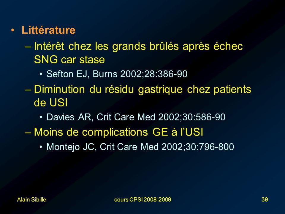 Alain Sibillecours CPSI 2008-200939 Littérature –Intérêt chez les grands brûlés après échec SNG car stase Sefton EJ, Burns 2002;28:386-90 –Diminution