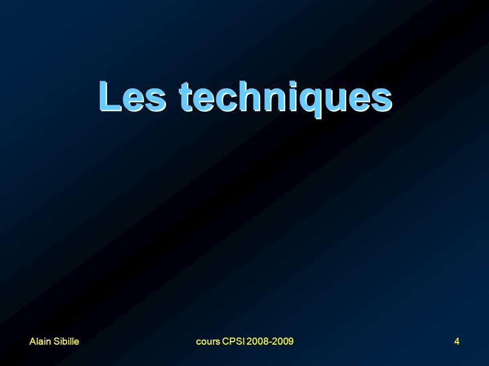Alain Sibillecours CPSI 2008-20094 Les techniques