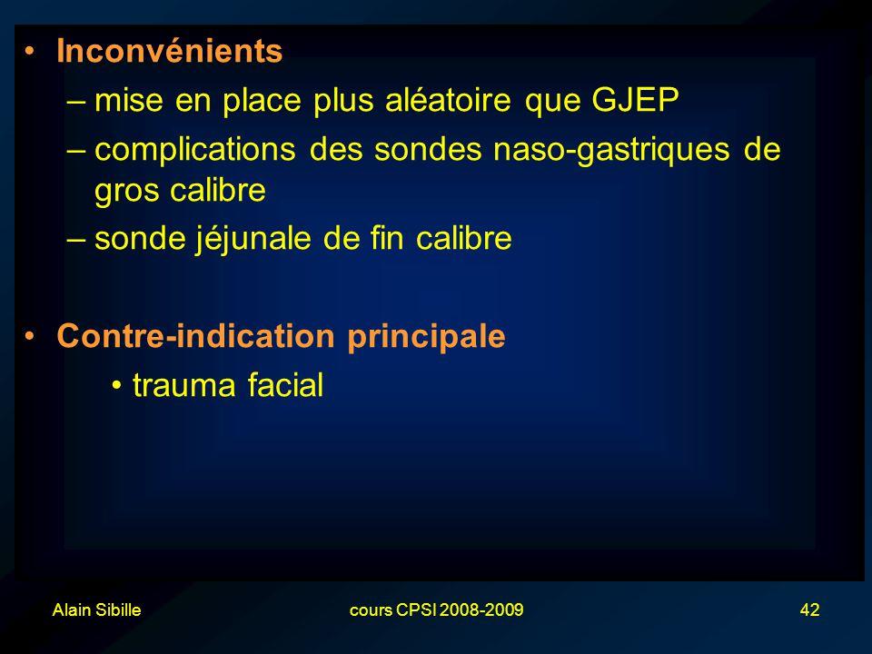 Alain Sibillecours CPSI 2008-200942 Inconvénients –mise en place plus aléatoire que GJEP –complications des sondes naso-gastriques de gros calibre –sonde jéjunale de fin calibre Contre-indication principale trauma facial