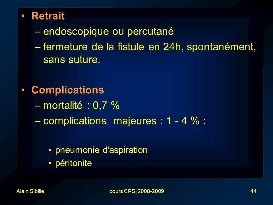 Alain Sibillecours CPSI 2008-200944 Retrait –endoscopique ou percutané –fermeture de la fistule en 24h, spontanément, sans suture.