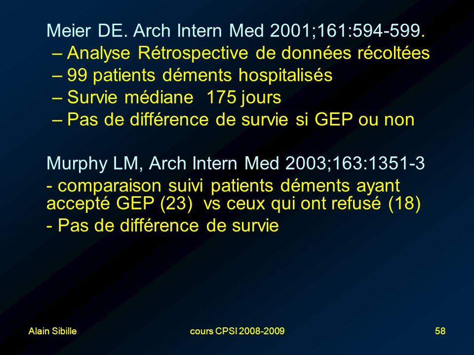 Alain Sibillecours CPSI 2008-200958 Meier DE. Arch Intern Med 2001;161:594-599. –Analyse Rétrospective de données récoltées –99 patients déments hospi