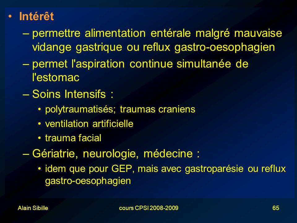 Alain Sibillecours CPSI 2008-200965 Intérêt –permettre alimentation entérale malgré mauvaise vidange gastrique ou reflux gastro-oesophagien –permet l'