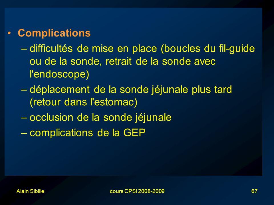 Alain Sibillecours CPSI 2008-200967 Complications –difficultés de mise en place (boucles du fil-guide ou de la sonde, retrait de la sonde avec l'endos