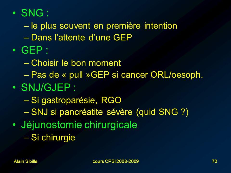 Alain Sibillecours CPSI 2008-200970 SNG : –le plus souvent en première intention –Dans l'attente d'une GEP GEP : –Choisir le bon moment –Pas de « pull »GEP si cancer ORL/oesoph.